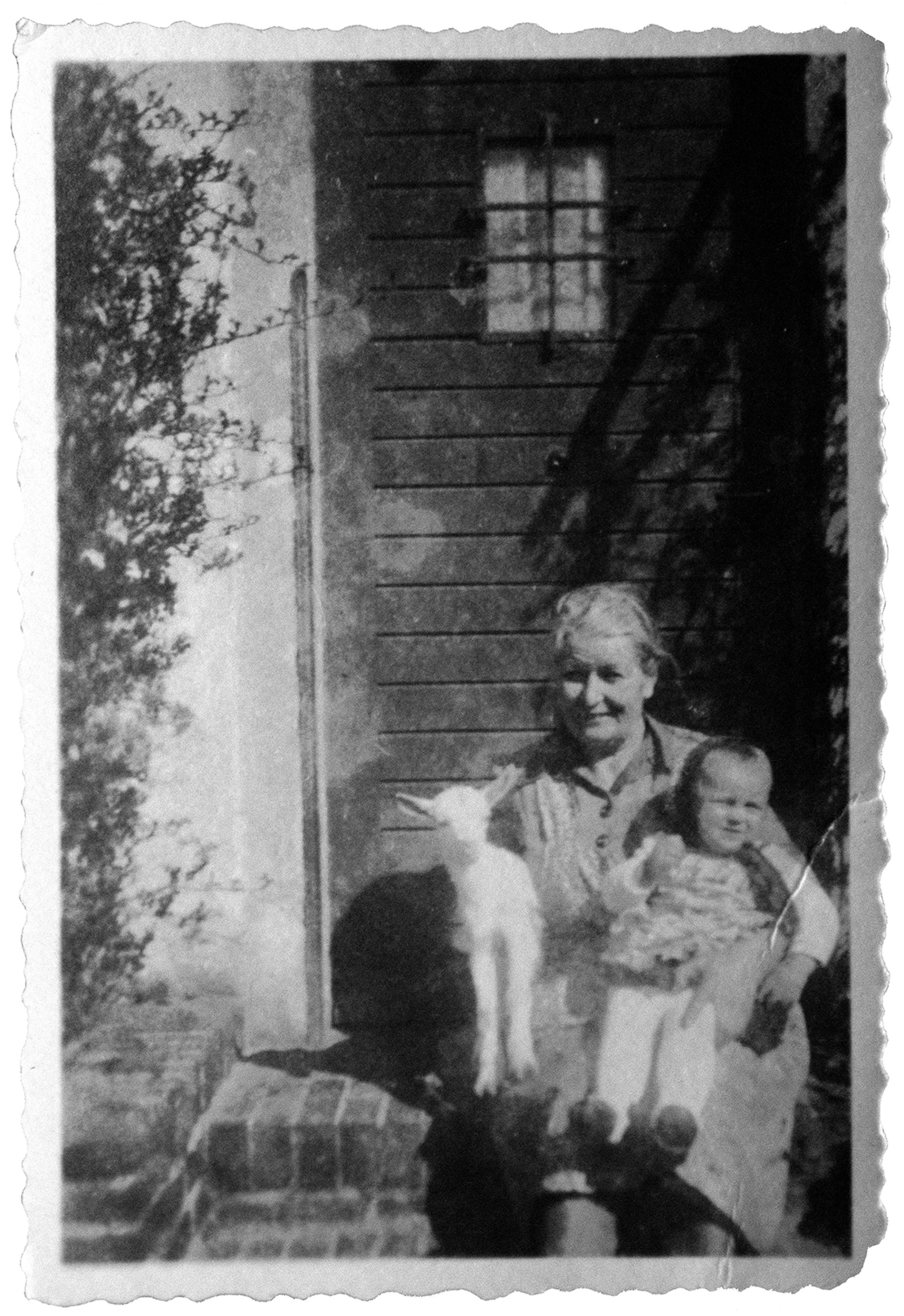 Günther Freier's mother at the door of their Gross Gaglow house, back in the day. He's lived there since he was 5.