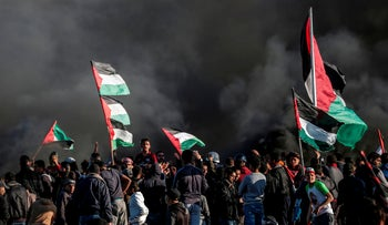 Gazan protesters at Friday demonstrations by the border fence, March 8, 2019.