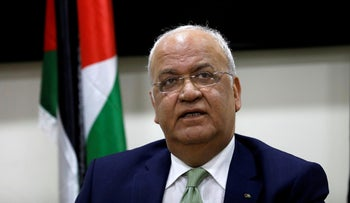 Chief Palestinian negotiator Saeb Erekat looks on during a news conference following his meeting with foreign diplomats, Ramallah, West Bank, January 30, 2019.