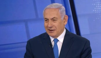 Prime Minister Benjamin Netanyahu gives an interview to Israel's Channel 12, March 23, 2019.