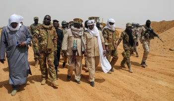 Moussa Diallo and governor Daouda Maiga at the military base of Malian Army forces (Fama) in Anderamboukane, Menaka region, March 22, 2019.