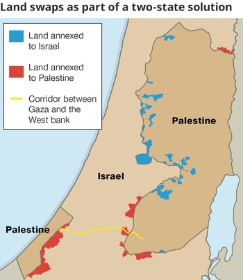 map of land swaps as part of two-state solution