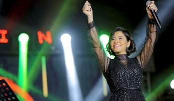 In this Dec. 31, 2018 photo, Egyptian singer Sherine Abdel-Wahab performs during New Years' Eve, in Cairo, Egypt