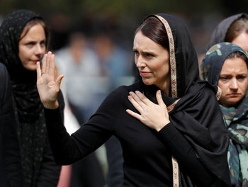 New Zealand Prime Minister Jacinda Ardern, waves as she leaves Friday prayers at Hagley Park in Christchurch, New Zealand, March 22, 2019.