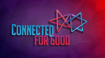 Screengrab of the AIPAC Policy Conference slogan for 2019: Connected for Good.