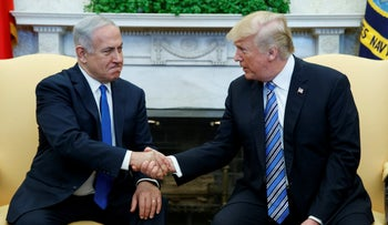 President Donald Trump meets with Israeli Prime Minister Benjamin Netanyahu in the Oval Office of the White House in Washington, March 5, 2018.