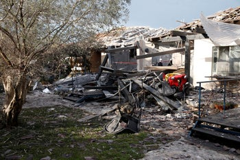 House struck in central Israel struck by rocket on March 25, 2019.