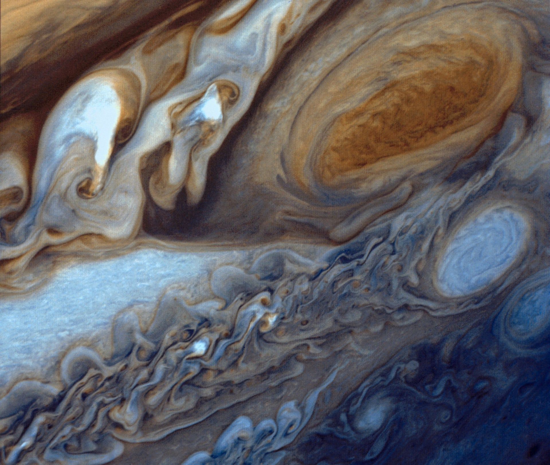 false-color image of the Great Red Spot of Jupiter from Voyager 1