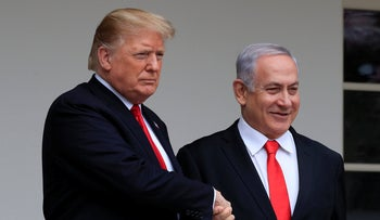 President Donald Trump welcomes visiting Israeli Prime Minister Benjamin Netanyahu to the White House in Washington, Monday, March 25, 2019.