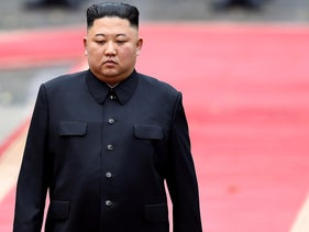 North Korea's leader Kim Jong Un attends a welcoming ceremony at the Presidential Palace in Hanoi , Vietnam, March 1, 2019.