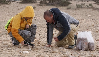 Researchers examine archaeological evidence in Elusa, in Israel's Negev, February 2017.