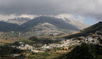 A general view shows the village of Ein Qiniyye in the Israeli side of the Golan Heights, March 26, 2019.