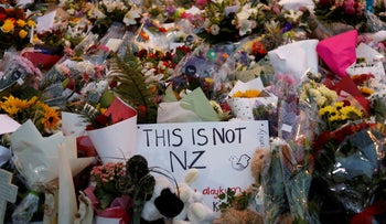 Flowers laying at a memorial near the Masjid Al Noor mosque, for victims of the March 15 shooting in Christchurch, New Zealand, March 16, 2019.