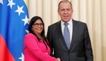File Photo: Venezuela's Vice President Delcy Rodriguez and Russian Foreign Minister Sergei Lavrov shake hand after a joint news conference in Moscow, Russia, March 1, 2019.