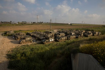 File photo: Israeli army artillery is seen deployed near the border with Gaza, in southern Israel, March 27, 2019.