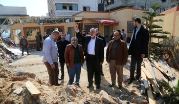 Hamas chief Ismail Haniyeh visiting his office that was hit in an Israeli airstrike, Gaza City, March 27, 2019.