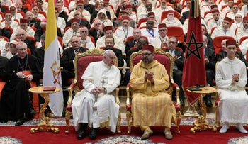 Pope Francis and Moroccan King Mohammed VI at the Mohammed VI Institute for the Training of Imams, Rabat, March 30, 2019.