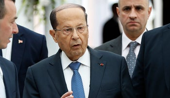 Lebanese President Michel Aoun arrives at Tunis-Carthage international airport to attend the Arab Summit, in Tunis, Tunisia, March 30, 2019.