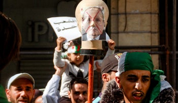 File photo: Algerians protest during a demonstration against ailing President Abdelaziz Bouteflika in the northern coastal city of Oran, March 29, 2019.
