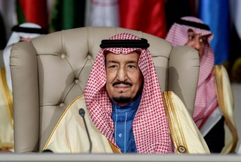 Saudi Arabia's King Salman attends the opening session of the 30th Arab League summit in the Tunisian capital Tunis, Sunday, March 31, 2019