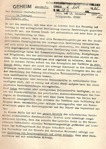 A facsimile of the first page of General Nikolaus von Falkenhorst's letter to his troops, as it appears in the booklet published by the British Government, from the National Library of Israel collection.