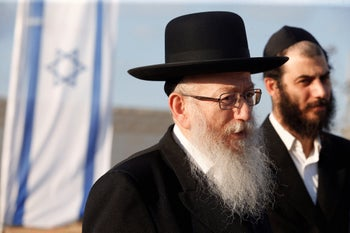 FILE: Health Minister Yaakov Litzman. Israeli police are investigating suspicions that Litzman obstructed justice by attempting to prevent the extradition Leifer, accused of sex crimes in Australia.