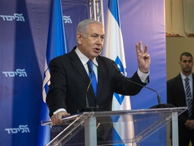 Prime Minister Benjamin Netanyahu gives a speech about the bot network, April 1, 2019.