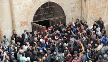 FILE PHOTO: Palestinian Muslims enter the Golden Gate near Al-Aqsa mosque in Jerusalem's Old City February 22, 2019