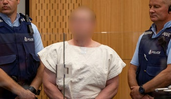 The suspected shooter charged for murder in relation to the mosque attacks is seen in the dock during his appearance in the Christchurch District Court, New Zealand March 16, 2019.