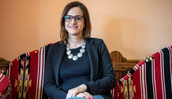 """Heba Yazbak at the Balad's offices in Nazareth, March 25, 2019. """"Bibi is the one destroying the country,"""" not Arab lawmakers, she charges."""