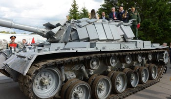 Prime Minister Benjamin Netanyahu at the ceremony marking the return of the captured Israeli tank from Russia, June 8, 2016.