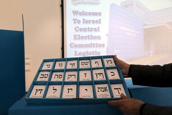 Voting slips for 18 of the 40-plus parties running in the Israeli election on April 9. 2019.