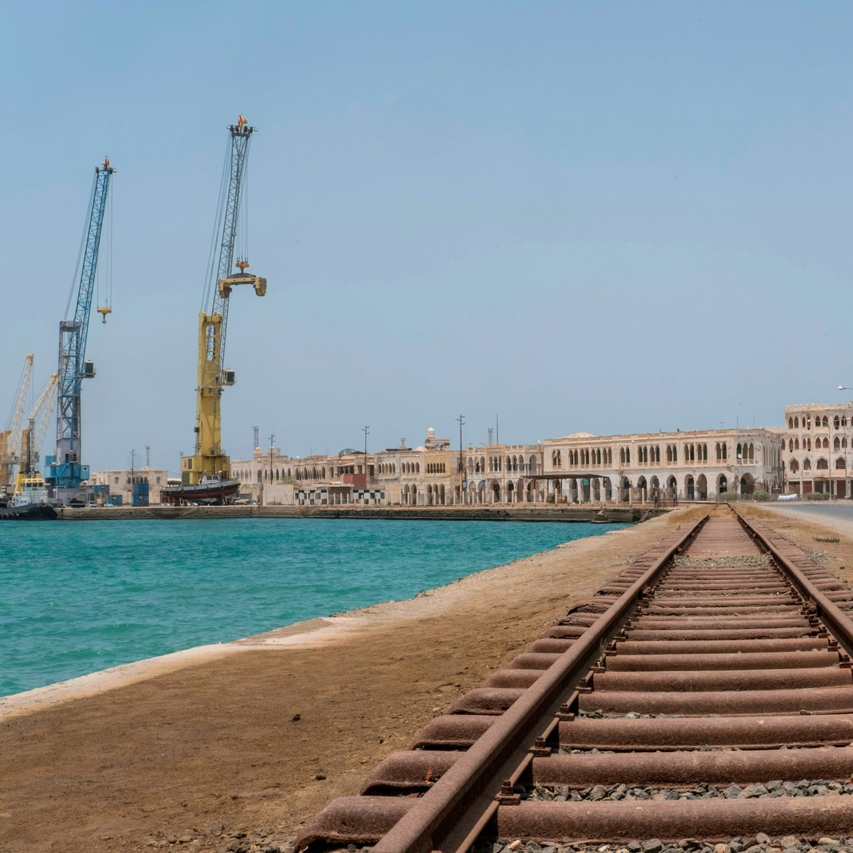A photo taken on July 22, 2018 shows a general view of Old Massawa with the port and the train tracks that leads to the Eritrean capital Asmara.