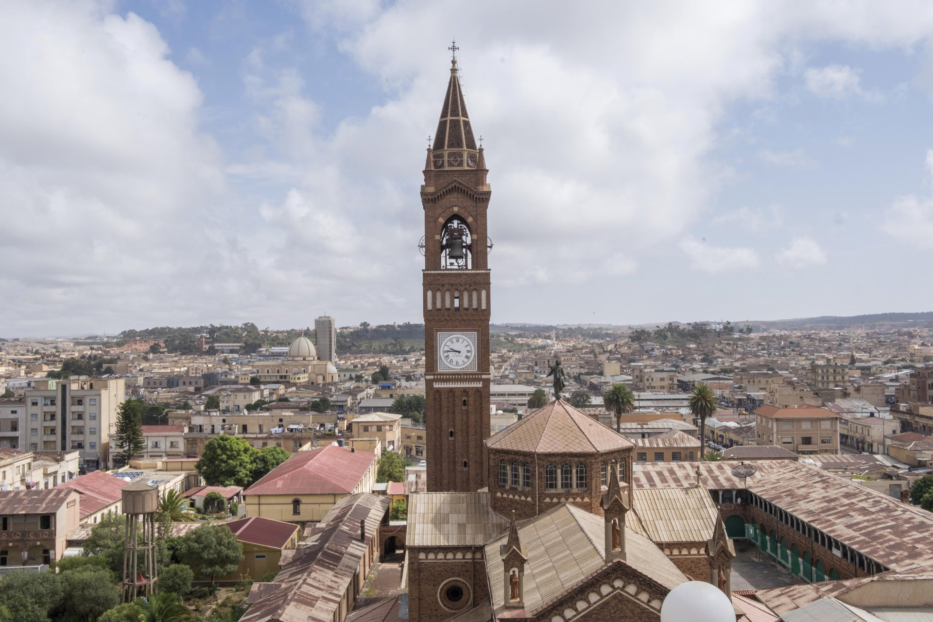 An aerial picture taken on July 21, 2018 shows a view of the Eritrean capital, Asmara with the St. Mary Cathedral tower.