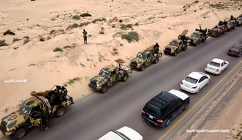 A screenshot of a video from the LNA War Information Division's Facebook page published on April 3, 2019 allegedly shows military convoys heading toward western Libya.