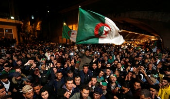 A crowd celebrating in Algiers after President Abdelaziz Bouteflika resigned after 20 years in power,  April 2, 2019.