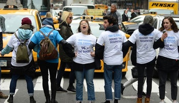 IfNotNow protests outside the Birthright offices in New York, April 5, 2019.