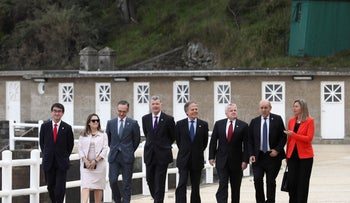 G7 representatives pose for a group photo in Dinard, Brittany, April 6, 2019.