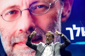 Moshe Feiglin, leader of Zehut, an ultra-nationalist religious party, speaks at an election campaign event in Tel Aviv, Israel April 2, 2019
