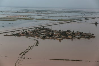 An aerial view of flooding in Khuzestan province, Iran, April 5, 2019.