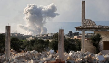 FILE PHOTO: A smoke plume rises following a reported airstrike in the Syrian town of Kafraya in the north of Idlib province,  March 22, 2019.