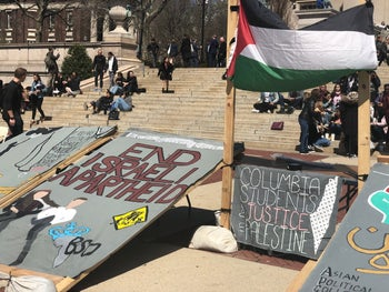 The Students for Justice in Palestine stand on Columbia University, April 2019.