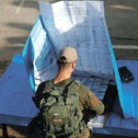 Israeli soldiers voting early on a military base, April 6, 2019.