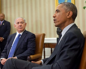 File photo: President Barack Obama meets with Israeli Prime Minister Benjamin Netanyahu in the Oval Office of the White House, October 1, 2014.