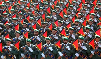 File photo: Iran's Revolutionary Guard troops march in a military parade marking the 36th anniversary of Iraq's 1980 invasion of Iran, September 21, 2016.