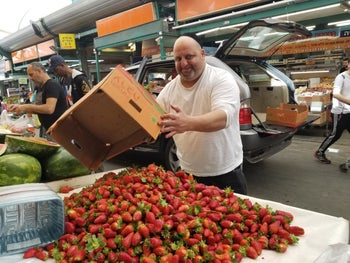 Yakov Cohen sells fresh strawberries at Hatikva open-air market in Tel Aviv, on Tuesday 9, 2019.