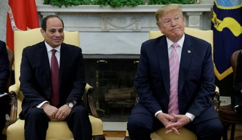 President Donald Trump meets with Egyptian President Abdel Fattah el-Sissi in the Oval Office of the White House, April 9, 2019.