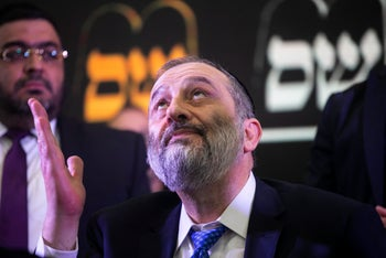 Chairman of Shas party Arye Dery in party headquarters, Jerusalem, Israel, April 9, 2019.