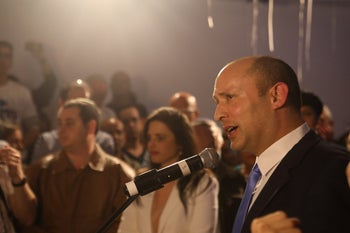 Naftali Bennett speaking in Hayamin Hehadsh headquarters in Bnei Brak, Israel, April 9, 2019.