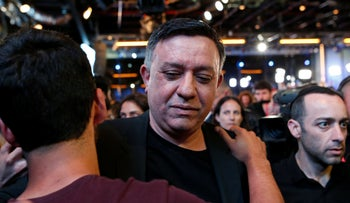 Avi Gabbay, head of Israel's Labor party, at the party's election event. April 9, 2019
